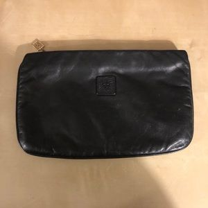 Black leather Anne Klien envelope clutch